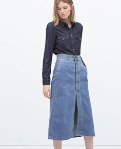 ZARA does double denim with a button maxi skirt and denim shirt
