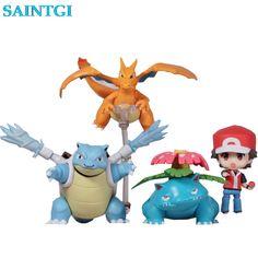 SAINTGI Go Japanese Anime Pocket Monsters Trainer Red Champlan Ver. Cute Nendoroid Action Figure Toys 6-10cm PVC #Affiliate