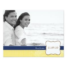 Cruise Ship Save the Date Save the Date Yellow Summer Cruise Wedding Card