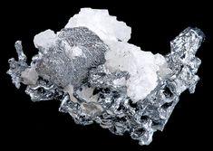 Polybasite, Acanthite and white Calcite. From Fresnillo mine, Pinos, Mun. de Pinos. Zacatecas, Mexico