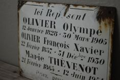 Antique French Memorial Plaque by on Etsy Francois Xavier, New Sign, French Antiques, Helping People, Marie, Sign Letters, Memories, Lettering, Black And White