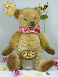 Smiler a Chiltern bear C1930 who just loves his tummy full of Hunny!! www.onceuponatimebears.co.uk