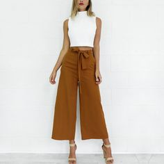 Summer style new brown long women pants Vintage bow pockets casual pants Loose mid waist sashes wide leg pants pantalones