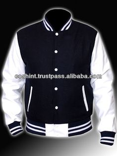 76464b407a1a 5- Black Wool And White Leather Varsity Jacket