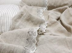 Shabby chic TOP SHEET from washed natural flax grey linen - pure linen lace trimmed flat sheets - Twin Full Queen California King bed sheets Linen Sheets, Linen Duvet, Bed Linen Sets, Linen Pillows, Duvet Sets, Ruffle Bedding, Shabby Chic Tops, King Bed Sheets, California King Bedding