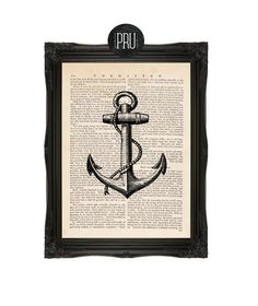 Drop Anchor Nautical Tradition Print on Antique by PrudencePrint