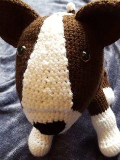 Bull Terrier Amigurumi Crochet Pattern Crochet Animal Amigurumi, Crochet Baby Toys, Knitted Animals, Perros Bull Terrier, White Bull Terrier, Kawaii Crochet, English Bull Terriers, Pattern Images, Learn To Crochet