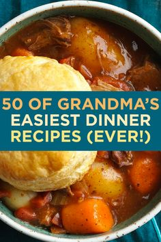 Grandma knew how to put a delicious dinner on the table. These family dinner ideas feature minimal ingredients and prep time. 50 of Grandma's Easiest Dinner Recipes (Ever!) 50 of Grandma's Easiest Dinner Recipes (Ever! Fall Dinner Recipes, Delicious Dinner Recipes, Dinner Ideas, School Dinner Recipes, Best Dinner Recipes Ever, Cooking Recipes For Dinner, Gourmet Recipes, Healthy Recipes, Grandma's Recipes