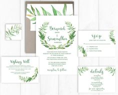 Wreath Wedding Invitation Suite  Greenery Wedding Invitation Garden Wedding Invitation Spring Wedding Invitation Leaf Wedding Invitation Printable or Printed