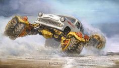 Monster Car, Monster Trucks, Futuristic Art, Car Drawings, Post Apocalyptic, Dieselpunk, Concept Cars, Concept Auto, Art Cars