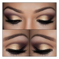 gold eye shadow with black edges and fake lashes. pretty make up look