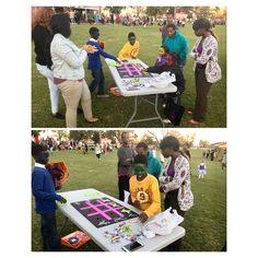 Members of Alpha Kappa Alpha at Troy University watch as children play tic tac toe during Fall Fest