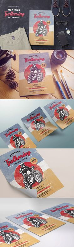 Vintage Motorcycle Gathering Flyer Template PSD - A4