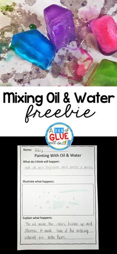Science meets are in this simple to setup mixing oil and water experiment. Add this simple science experiment to your preschool or kindergarten classroom! If you have kids that LOVE creating with STEAM activities, this is the kids activity for you. via @dabofgluewilldo