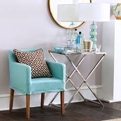 """Mirrored Folding TableDimensions: 28""""w x 18""""d x 30.75""""h Combines form and function Adds modern touch Folds up for convenience $249"""