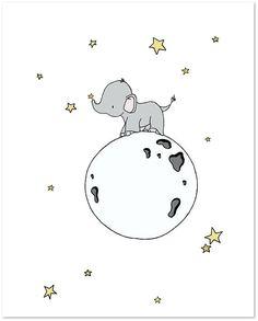Impression dArt de chambre de bébé éléphantÉléphant lune