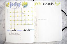 Bullet Journal Monthly Spread Ideas | JULY BULLET JOURNAL UPDATE Miss Louie