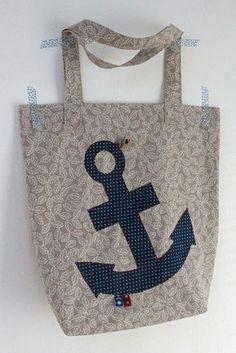 4 Freizeiten: Nähen: Stoffbeutel Oma's Liebling - maritim in beige mit blau und etwas rot, Farbenmix, Einkaufstasche, Stofftasche, Beutel, Einkaufsbeutel, Applikation Anker