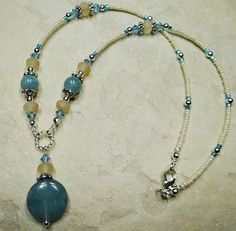 Semi Precious Necklace Aqua Blue Sponge Agate by ABeadApartJewelry, $22.50