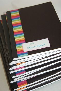 "art party ideas - ""my sketchbook"" is a cute party favor. Do this with the make your own paint chip notebooks."