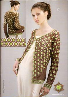 Bare med mere beige-agtig brun. crochet floral jacket   make handmade, crochet, craft