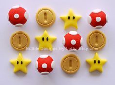 Pieces to add to cake Mario Bros Cake, Super Mario Bros, Super Mario Birthday, Mario Birthday Party, Super Mario Party, Birthday Ideas, Fondant Cupcakes, Fondant Toppers, Cupcake Cakes