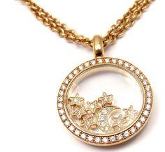 Authentic! Chopard Happy Diamond 18K Yellow Gold Stars Moon Pendant Necklace #Chopard #Pendant