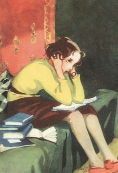 Schoolgirl with books at home. Cover art for Kotiliesi Magazine, March, 1936 (Finland). Martta Wendelin (Finland, © Estate of Martta Wendelin. The Tuusula Museum of Art has a dedicated. Reading Art, Woman Reading, I Love Books, My Books, People Reading, Children Reading, Books To Read For Women, Lectures, Inspirational Books