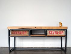 iron frame and old crates coffee table