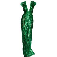 Elie Saab Emerald Sequin Green Gown Dress ❤ liked on Polyvore featuring dresses, gowns, long dresses, green and vestidos