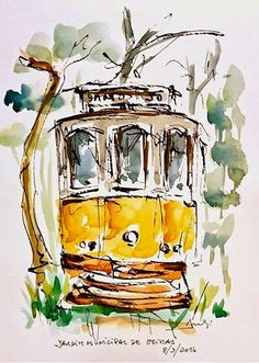 Urban Sketchers Portugal: The Old Tram Watercolor Sketch, Watercolor Bird, Watercolor Landscape, Watercolor Paintings, Watercolor Portraits, Abstract Paintings, Bird Paintings, Watercolor Artists, Art And Illustration