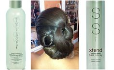 SImply Smooth finishing gloss and hairspray are necessities for the perfect updo.