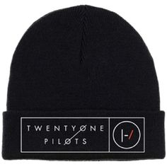 21 Twenty One Pilots Beanie Hat Band Logo Box Lines Official Black ($9.69) ❤ liked on Polyvore featuring accessories, hats, knit hat, knit cap beanie, knit beanie caps, 1920s hats and roaring twenties hats
