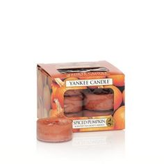 Yankee Candles Spiced Pumpkin: 12 count scented tea lights Burn time: 4-6 hours.