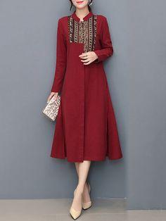 Vintage Women Patchwork Long Sleeve Split Shirt Dresses