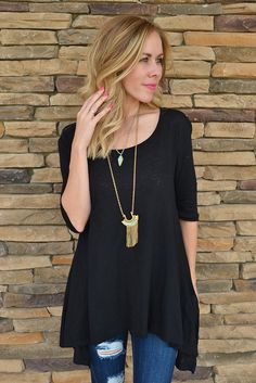 Laken Tunic - Black from Page 6 Boutique