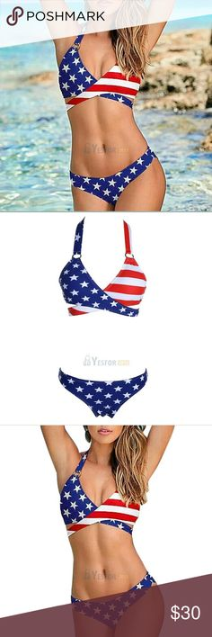 """Super Sexy Stars & Stripes Flag Padded Bikini New In Wholesale Package 2017 Get Ready for the 4th of July! They will stand up and salute when they see you in this beautiful new red white and blue stars and stripes bikini. Unique Overlap design. Tie Straps. Front and back of the bottom AR the same star pattern with full coverage. Pollyanna Spandex Blend. SMALL Bust 29-34"""", Waist 24-26.5"""" Cup A-C MD Bust 34-36.5"""", Waist 25.5""""-28"""" Cup B-C LG Bust 36.5-38"""", Waist 27-30.5"""" Cup B-C+  #242 Swim…"""