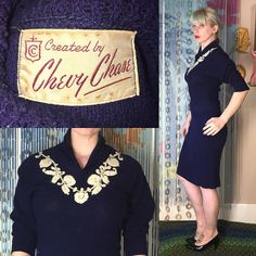 Vintage 1960's Elegant Chevy Chase  2 piece Knit Skirt WIGGLE Dress CLASSY Suit