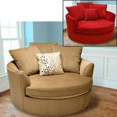 I love the idea of these round chairs for the TV room. #RoundChair