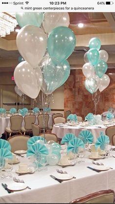 She loves her Tiffany Blue! Tiffany Blue & White Balloon Centerpieces with Balloon Bases (instead of Tiffany Blue it will be the same color as the dress) Party Decoration, Centerpiece Decorations, Balloon Decorations, Wedding Centerpieces, Wedding Decorations, Tiffany Blue Centerpieces, Tiffany Blue Decorations, Masquerade Centerpieces, Quinceanera Decorations