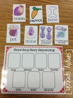 I love using the book, Stone Soup in therapy. There are so many activities that can be done with this activity on many different levels. Kindergarten Classroom, Kindergarten Activities, Preschool Activities, Kindergarten Writing, Preschool Learning, Speech And Language, Speech Language Therapy, Printable Board Games, Story Sequencing