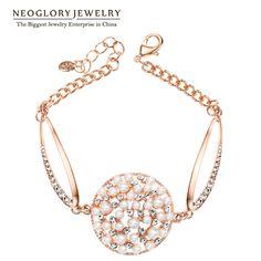 Gold Plated Austrian Rhinestone Simulated Pearl Bracelets Bangle for Women Fashion Jewelry PE1 Pea-1 Goldp