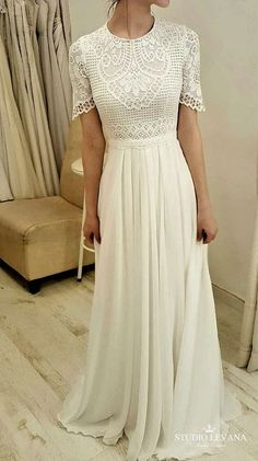 modest wedding dress with half sleeves from alta moda bridal (modest bridal gowns)