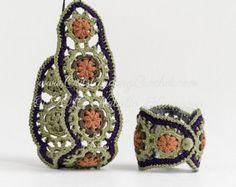 Crochet Beaded Bracelet and Necklace Set Pattern  Wide Wrist