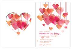 Valentine Hearts Wedding Invitations - Custom Printed - Pink Sunset
