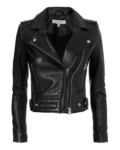 IRO EXCLUSIVE Luiga Moto Leather Jacket: Black: Our exclusive version of the black leather moto jacket features double off center zips, two zip pockets, shoulder epaulettes, 6 zips at cuffs, and quilted hemline with tab sizers. Lined. In black. Fabric: 100% lamb leather Lining: 100% rayon Made in ...