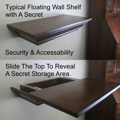 Top Secret Sliding Top Storage Shelf, Floating Wall Shelf, Shelving, Shelves, Gun Storage, Hidden Storage, Hidden Stash, Safety, Covert by DecoratingCentral on Etsy https://www.etsy.com/listing/237185172/top-secret-sliding-top-storage-shelf Más
