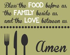 Dinner Blessing Bless the Food Family by LittleLifeDesigns