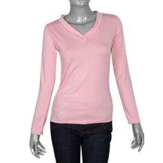 Allegra K Ladies Pink Long Sleeves Ribbed V Neck Autumn Shirt Top Size XS Allegra K. $7.40