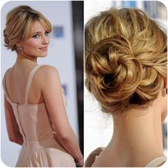 Dianna Agron romantic updo with bangs